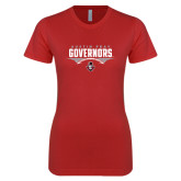 Next Level Ladies SoftStyle Junior Fitted Red Tee-Football Design