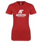 Next Level Ladies SoftStyle Junior Fitted Red Tee-AP Austin Peay Governors - Official Athletic Logo