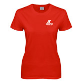 Ladies Red T Shirt-AP Austin Peay Governors - Official Athletic Logo