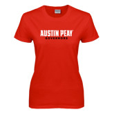Ladies Red T Shirt-Austin Peay Governors Flat