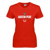 Ladies Red T Shirt-Softball Design