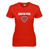 Ladies Red T Shirt-Soccer Design