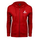 ENZA Ladies Red Fleece Full Zip Hoodie-AP Austin Peay Governors - Official Athletic Logo