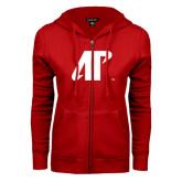 ENZA Ladies Red Fleece Full Zip Hoodie-AP