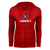 ENZA Ladies Red Fleece Full Zip Hoodie-Governor Austin Peay Governors