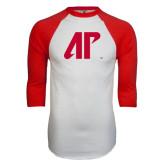 White/Red Raglan Baseball T-Shirt-AP