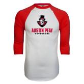 White/Red Raglan Baseball T-Shirt-Governor Austin Peay Governors Distressed