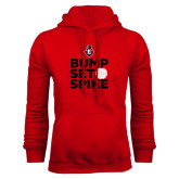 Red Fleece Hood-Volleyball Design