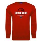 Red Fleece Crew-Volleyball Design