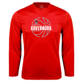 Syntrel Performance Red Longsleeve Shirt-Basketball Design