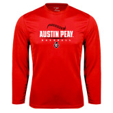 Syntrel Performance Red Longsleeve Shirt-Baseball Design