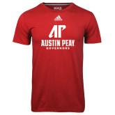 Adidas Climalite Red Ultimate Performance Tee-AP Austin Peay Governors - Official Athletic Logo