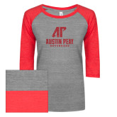 ENZA Ladies Athletic Heather/Red Vintage Triblend Baseball Tee-Official Logo Red Glitter