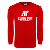 Red Long Sleeve T Shirt-AP Austin Peay Governors - Official Athletic Logo