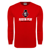 Red Long Sleeve T Shirt-Governor Austin Peay Governors