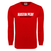 Red Long Sleeve T Shirt-Austin Peay Governors Flat