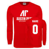 Red Long Sleeve T Shirt-AP Austin Peay Governors - Official Athletic Logo, Custom Tee w/ Name and #