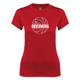 Ladies Syntrel Performance Red Tee-Basketball Design