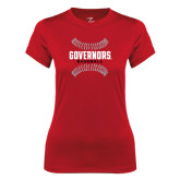 Ladies Syntrel Performance Red Tee-Baseball Design