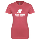 Next Level Ladies SoftStyle Junior Fitted Pink Tee-AP Austin Peay Governors - Official Athletic Logo
