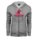 ENZA Ladies Grey Fleece Full Zip Hoodie-AP Austin Peay Governors - Official Athletic Logo
