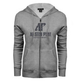 ENZA Ladies Grey Fleece Full Zip Hoodie-Official Logo Graphite Soft Glitter