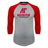 Grey/Red Raglan Baseball T-Shirt-AP Austin Peay Governors - Official Athletic Logo