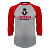 Grey/Red Raglan Baseball T-Shirt-Governor Austin Peay Governors
