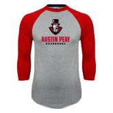Grey/Red Raglan Baseball T-Shirt-Governor Austin Peay Governors Distressed