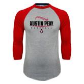 Grey/Red Raglan Baseball T-Shirt-Baseball Design