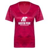 Ladies Pink Raspberry Camohex Performance Tee-AP Austin Peay Governors - Official Athletic Logo