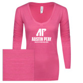 ENZA Ladies Hot Pink Long Sleeve V Neck Tee-AP Austin Peay Governors - Official Athletic Logo