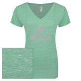 ENZA Ladies Seaglass Melange V Neck Tee-Official Logo White Soft Glitter