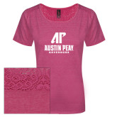 Ladies Dark Fuchsia Heather Tri-Blend Lace Tee-AP Austin Peay Governors - Official Athletic Logo