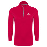 Ladies Pink Raspberry Sport Wick Textured 1/4 Zip Pullover-AP Austin Peay Governors - Official Athletic Logo