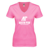 Next Level Ladies Junior Fit Deep V Pink Tee-AP Austin Peay Governors - Official Athletic Logo