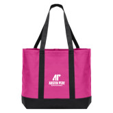 Tropical Pink/Dark Charcoal Day Tote-AP Austin Peay Governors - Official Athletic Logo