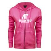 ENZA Ladies Fuchsia Fleece Full Zip Hoodie-AP Austin Peay Governors - Official Athletic Logo