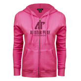 ENZA Ladies Fuchsia Fleece Full Zip Hoodie-Official Logo Hot Pink Glitter