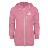 ENZA Ladies Hot Pink Marled Full Zip Hoodie-AP Austin Peay Governors - Official Athletic Logo