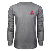 Grey Long Sleeve T Shirt-AP Austin Peay Governors - Official Athletic Logo