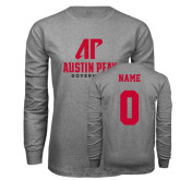 Grey Long Sleeve T Shirt-AP Austin Peay Governors - Official Athletic Logo, Custom Tee w/ Name and #