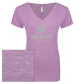 ENZA Ladies Violet Melange V Neck Tee-Official Logo White Soft Glitter