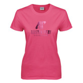 Ladies Fuchsia T Shirt-AP Austin Peay Governors - Official Athletic Logo