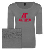Ladies Grey Heather Tri Blend Lace 3/4 Sleeve Tee-AP Austin Peay Governors - Official Athletic Logo
