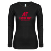 Ladies Black Long Sleeve V Neck T Shirt-AP Austin Peay Governors - Official Athletic Logo