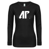 Ladies Black Long Sleeve V Neck T Shirt-AP
