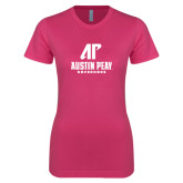 Ladies SoftStyle Junior Fitted Fuchsia Tee-AP Austin Peay Governors - Official Athletic Logo
