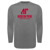Under Armour Carbon Heather Long Sleeve Tech Tee-AP Austin Peay Governors - Official Athletic Logo