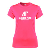 Ladies Performance Hot Pink Tee-AP Austin Peay Governors - Official Athletic Logo